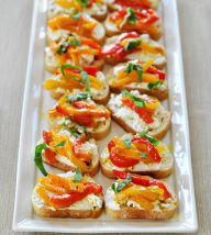 Goat Cheese and Roasted Pepper Crostini
