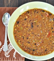 Lentil and Black Bean Soup with Andouille Sausage