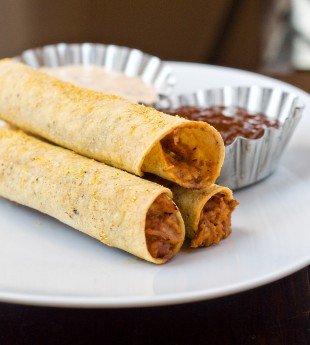 Baked BBQ Chipotle Ranch Chicken Taquitos