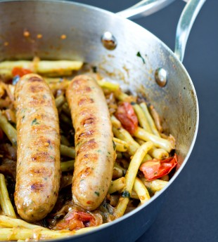Chicken Sausages with Wax Beans and Tomatoes