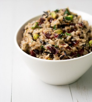 Wild Rice Pilaf with Cranberries and Pistachios {Anolon Giveaway}