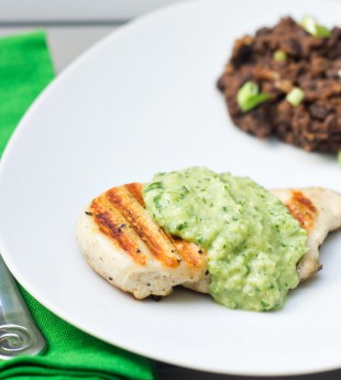 Grilled Chicken with Creamy Green Chile, Tomatillo and Avocado Sauce