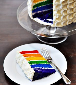 Vanilla Bean Rainbow Layer Cake with Vanilla Bean Frosting