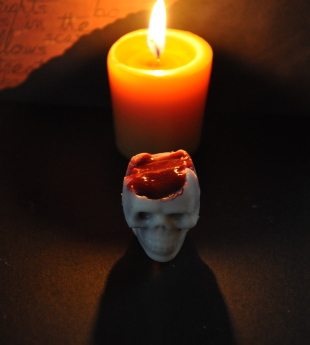 White Chocolate Skulls with Berry Coulis