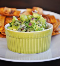 Fried Plantain Chips with Avocado Kiwi Salsa