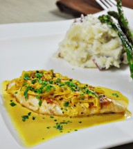 Chicken Scallopine with Saffron Cream Sauce