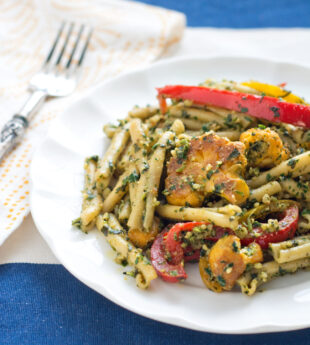 Pasta with Cauliflower, Peppers and Walnut Pesto