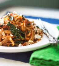 Roasted Red Pepper Pesto Pasta with Kale and Feta