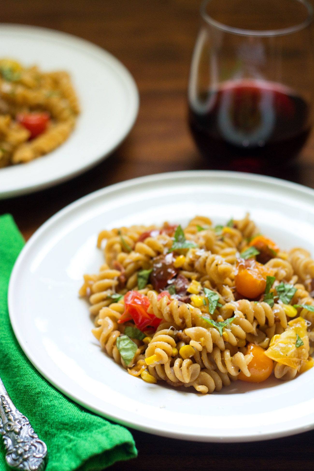 pasta with bacon, corn and tomatoes