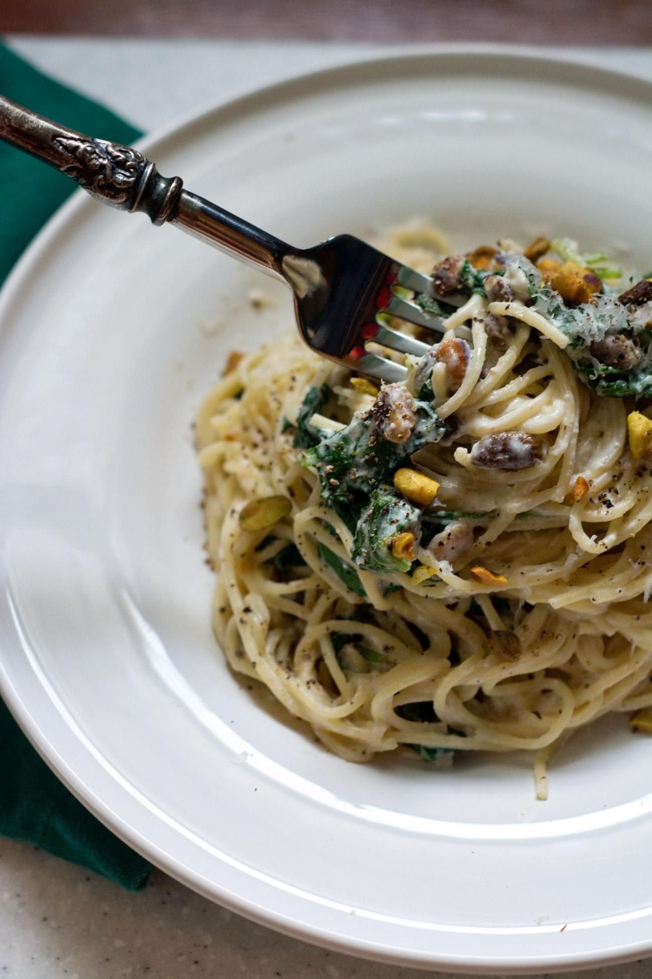 ricotta kale pasta with pistachios   cooklikeachampion.com