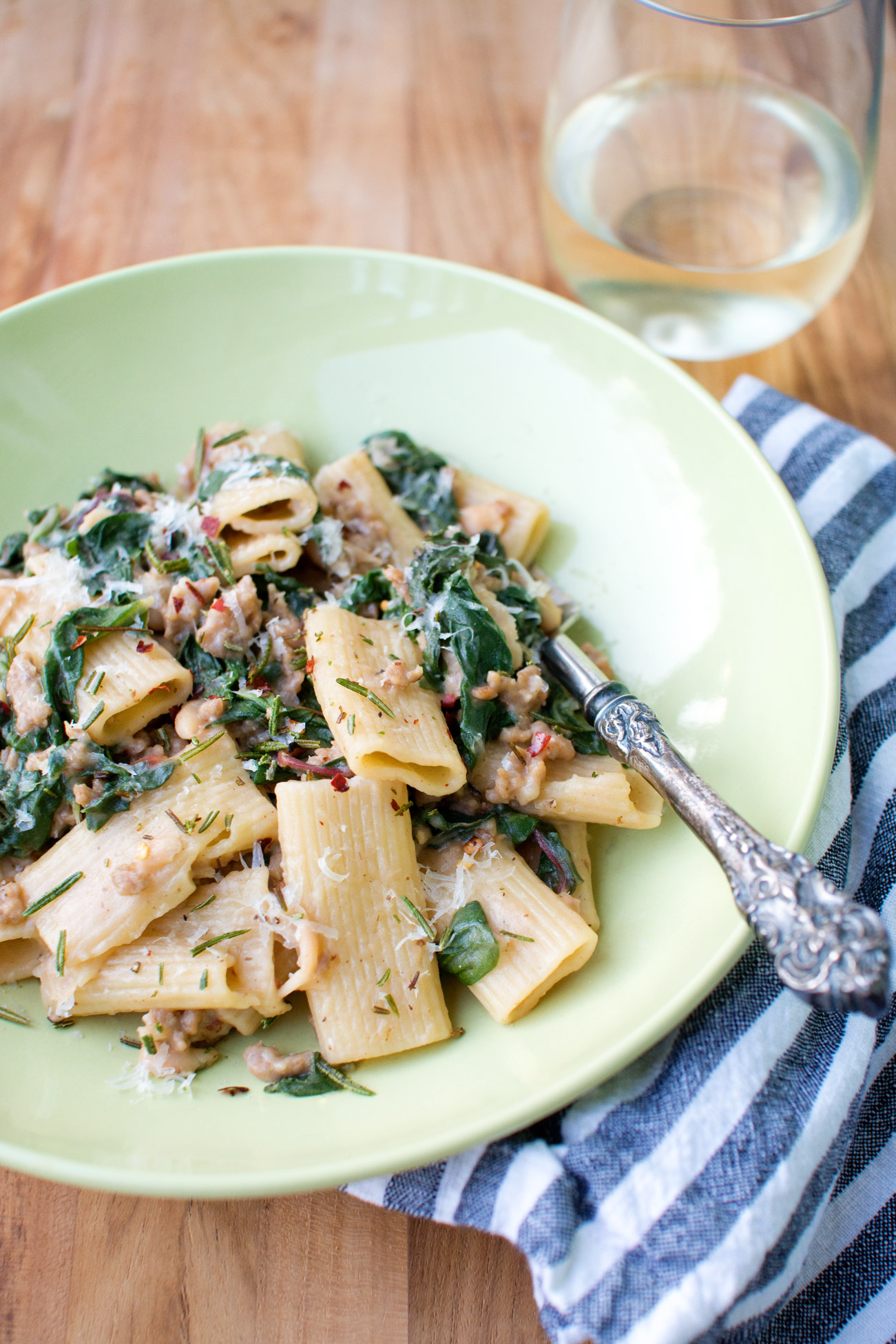 pasta with sausage, greens, and beans | cooklikeachampion.com